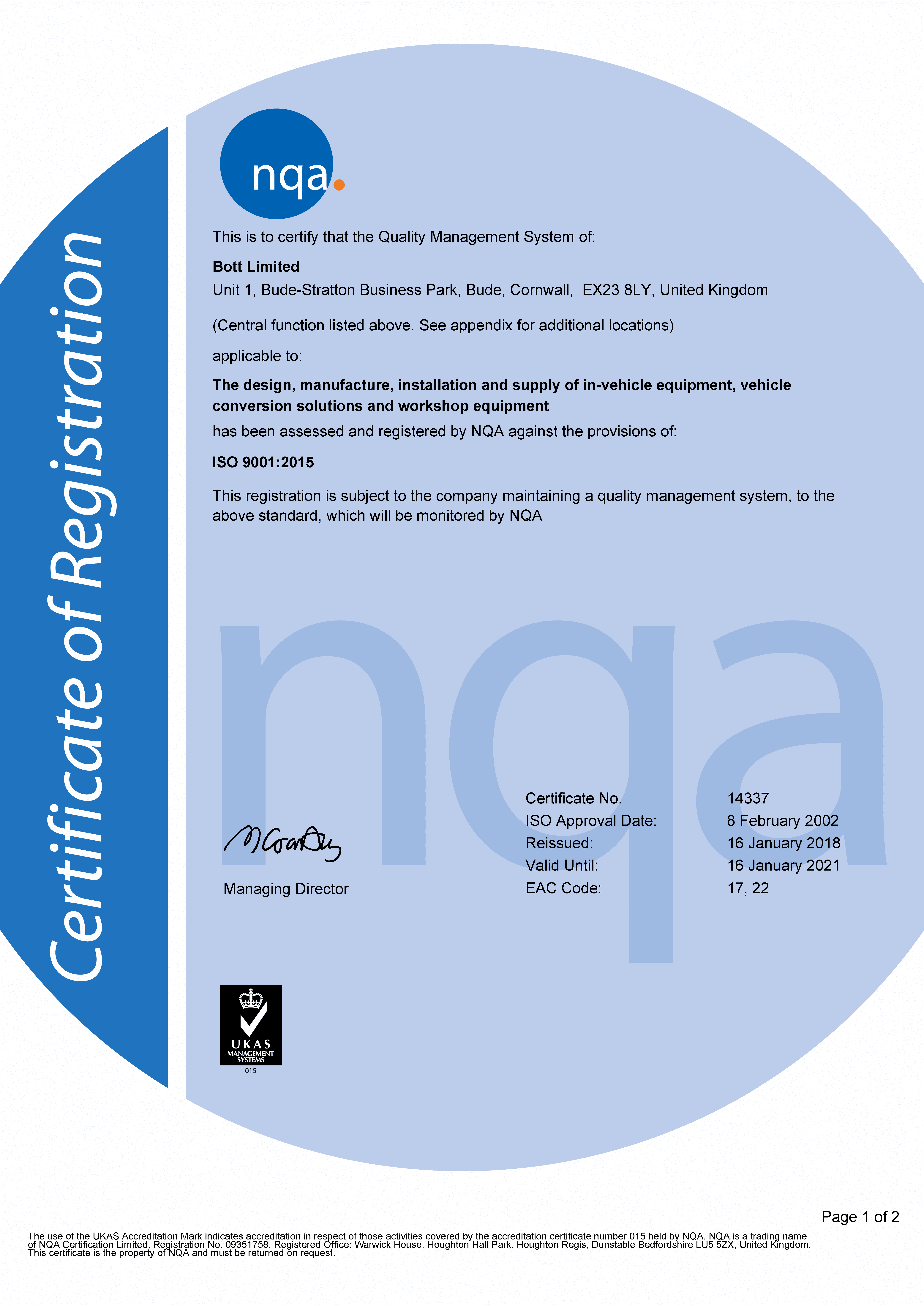 ISO 1400 Certificate